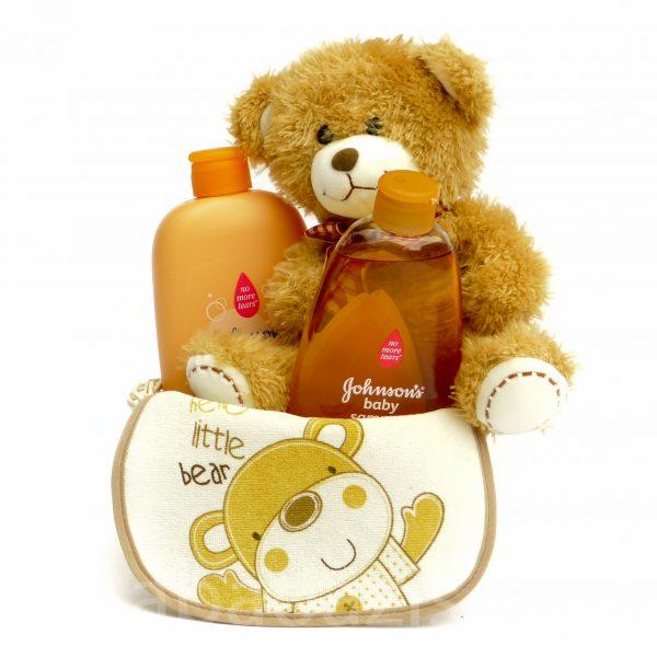 P1210448 600x600 - Macis Johnson's baby ajándékkosár - barna