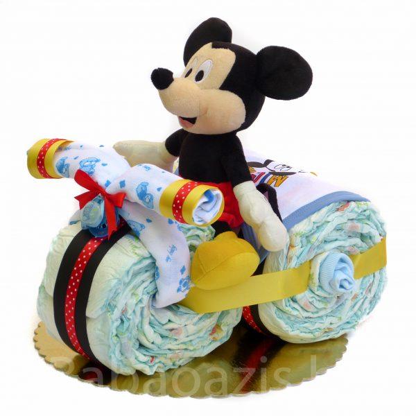 P1210480 600x600 - Motoros Mickey egér pelenkatorta
