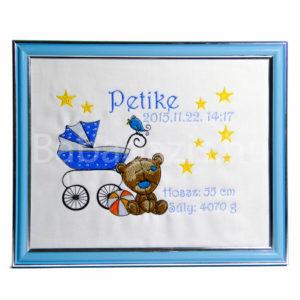 P1220627 1 300x300 - Egyedi hímzett kép - babakocsis, kék keretben