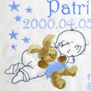 P1220650 180x180 - Egyedi hímzett kép - babás, kék keretben