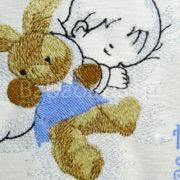 P1220651 180x180 - Egyedi hímzett kép - babás, kék keretben