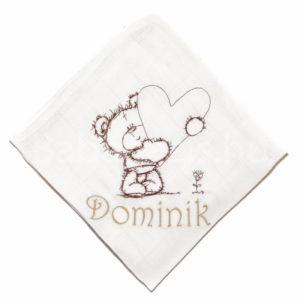macis egyedi névvel hímzett textilpelenka.J 300x300 - Egyedi hímzett textilpelenka - macis