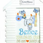 Egyedi hímzett kép.ház.fiú.2 180x180 - Egyedi hímzett kép - nyuszis, házikó keretben