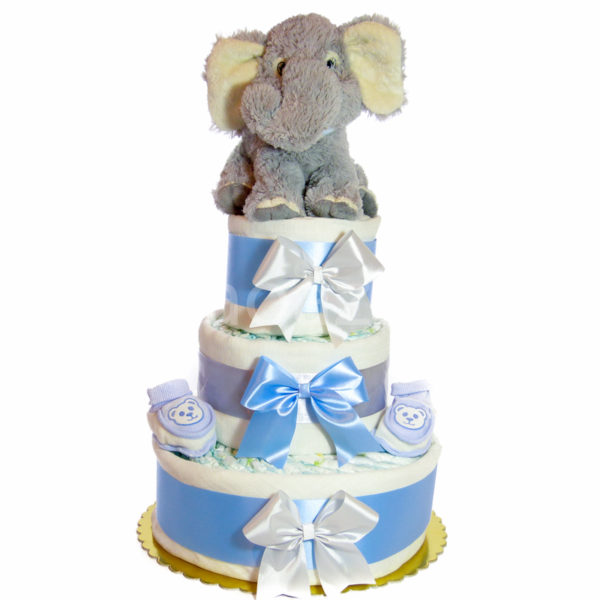 Elefántos pelenkatorta.kék.1. 600x600 - Elefáni pelenkatorta - kék