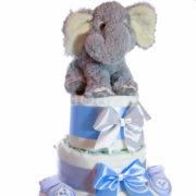 Elefántos pelenkatorta.kék.3. 180x180 - Elefáni pelenkatorta - kék