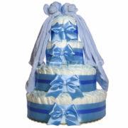 """Csupapelus pelenkatorta 4em.kék 2 kék szundikendő 180x180 - Iker """"csupa pelus"""" pelenkatorta szundikendővel – kék - 3 vagy 4 szintes, választható hímzéssel is"""