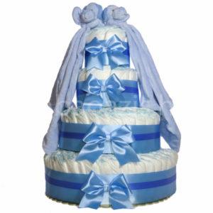 """Csupapelus pelenkatorta 4em.kék 2 kék szundikendő 300x300 - Iker """"csupa pelus"""" pelenkatorta szundikendővel – kék - 3 vagy 4 szintes, választható hímzéssel is"""