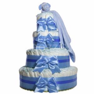 """Csupapelus pelenkatorta kék 4em. kékszundikendő 300x300 - """"Csupa pelus"""" pelenkatorta szundikendővel - kék - 3 vagy 4 szintes, választható hímzéssel is"""