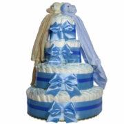 """Csupapelus pelenkatorta kék4em.kék.barna szundikendő 180x180 - Iker """"csupa pelus"""" pelenkatorta szundikendővel – kék - 3 vagy 4 szintes, választható hímzéssel is"""