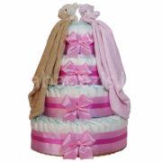"""Csupapelus pelenkatorta pink 4em. 2 pink barna kékszundikendő 180x180 - Iker """"csupa pelus"""" pelenkatorta szundikendővel – rózsaszín - 3 vagy 4 szintes, választható hímzéssel is"""