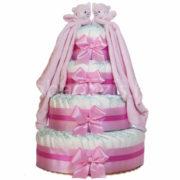 """Iker """"csupa pelus"""" pelenkatorta szundikendővel – rózsaszín – 3 vagy 4 szintes, választható hímzéssel is"""