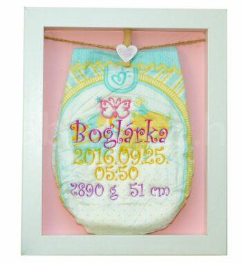 egyedi hímzett pelenka 1290599 350x380 - Többszínű hímzett pelus keretben - választható színek és minta/rózsaszín háttér