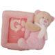 Plüss bébi maci képtartóval-rózsaszín 17cm