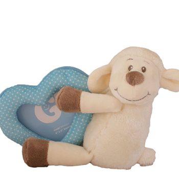 Plüss baba képtartó bárány kék