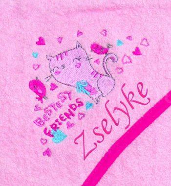 Kapucnis törölköző cicás pink