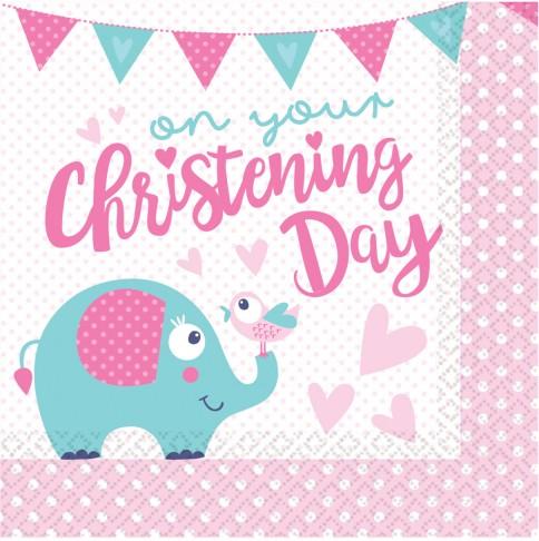 Christening Keresztelő szalvéta 16 db os 3333 cm - Keresztelő party szett - rózsaszín