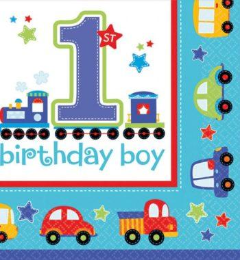 Első születésnap szalvéta boy 16 db os 350x380 - Első születésnap party szett - kisfiús