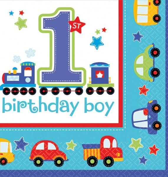 Első születésnap szalvéta boy 16 db os 570x600 - Első születésnap party szett - kisfiús