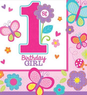 Első születésnap szalvéta girl 16 db os 350x380 - Első születésnap party szett - kislányos