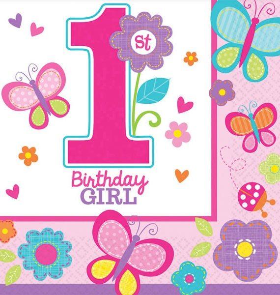 Első születésnap szalvéta girl 16 db os 570x600 - Első születésnap party szett - kislányos
