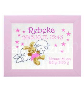 P1220587 4.2 350x380 - Egyedi hímzett kép - babás, pink keretben