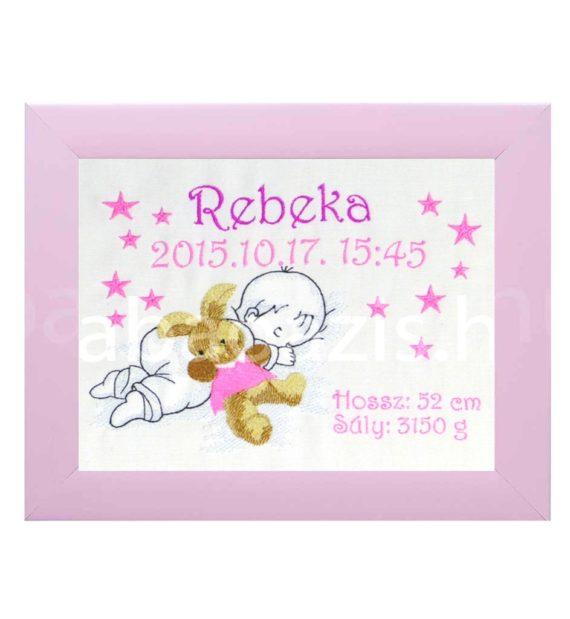P1220587 4.2 570x619 - Egyedi hímzett kép - babás, pink keretben