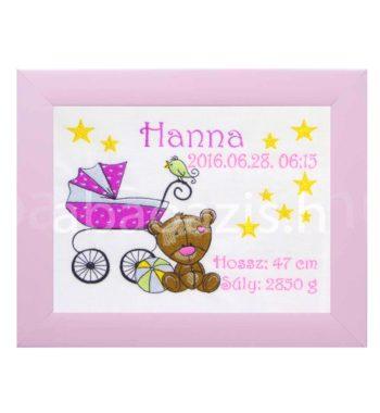 P1310426.2 350x380 - Egyedi  hímzett kép - babakocsis, pink keretben