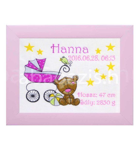 P1310426.2 570x619 - Egyedi  hímzett kép - babakocsis, pink keretben