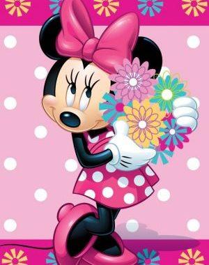 JFK014240 300x380 - Polár takaró Disney Minnie - virágos 100x150cm