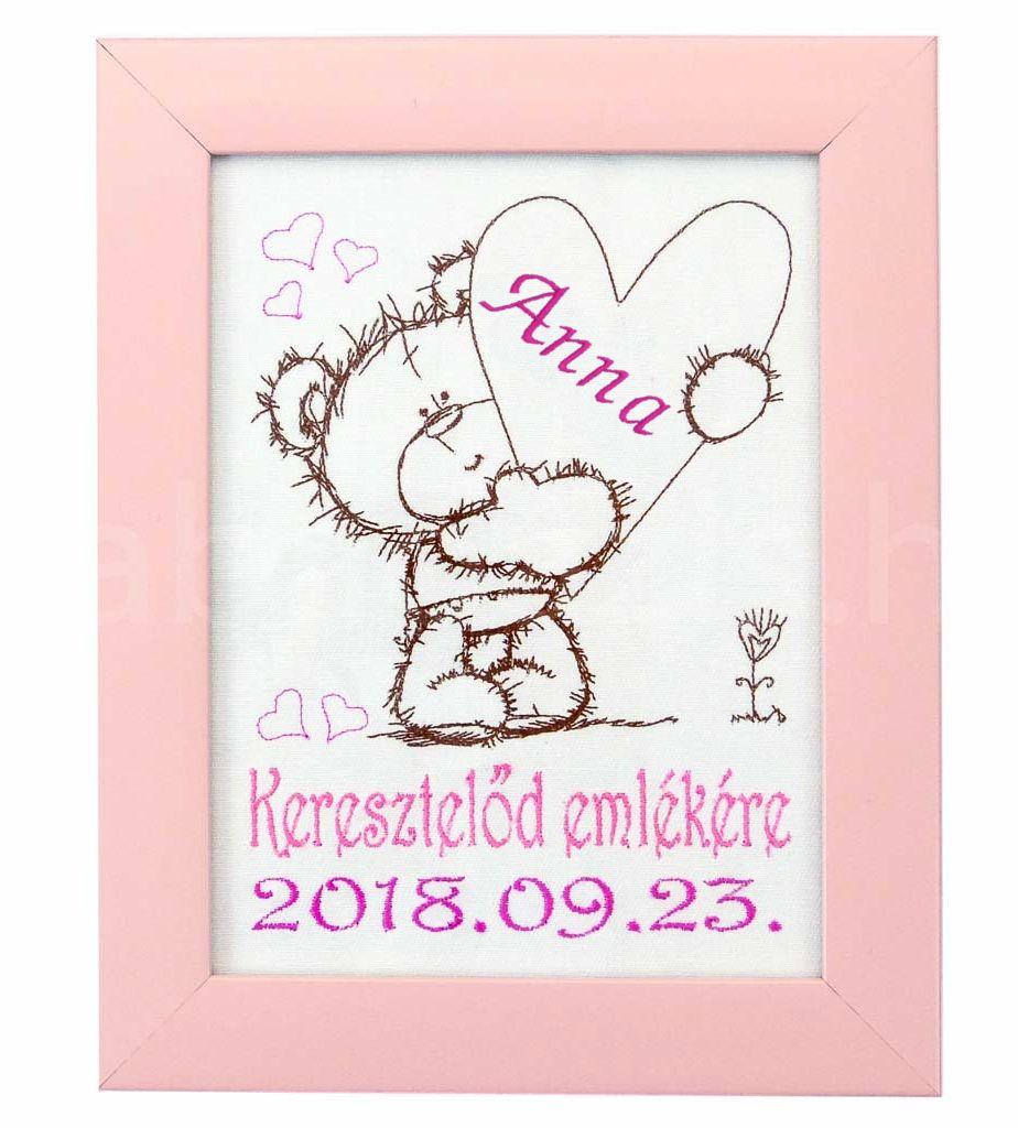 Egyedi hímzett kép keresztelőre-macis - Babaoázis Webáruház-Egyedi baba  ajándékok 13b7bf5903