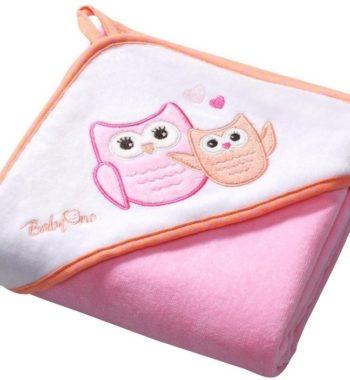 137 1 lr 350x380 - BabyOno kapucnis fürdőlepedő 76*76cm 137/01 bagoly-rózsaszín