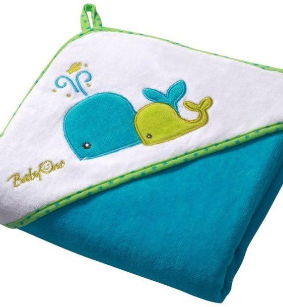 137 2 lr 570x619 - BabyOno kapucnis fürdőlepedő 76*76cm 137/02 bálnák-kék