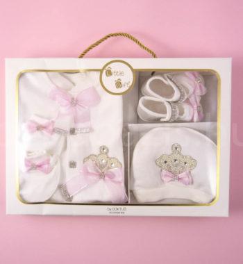 P1320699 350x380 - Ünneplő, keresztelő ruha szett - 4 részes - koronás - rózsaszín