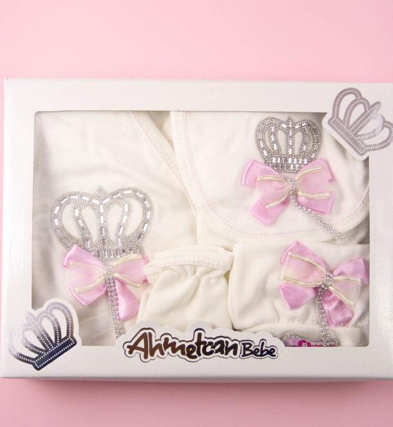 P1320708 570x619 - Ünneplő, keresztelő ruha szett - 5 részes - koronás - rózsaszín 2.