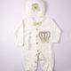 P1320738 80x80 - Ünneplő, keresztelő ruha szett - 4 részes - koronás - pöttyös, bézs