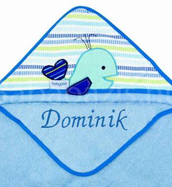 babatakaro 17.1 350x380 - Névre szóló pamut kapucnis fürdőlepedő-Babyono-bálna-kék