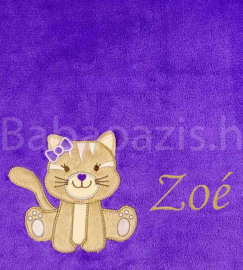 Névre szóló mikroszálas babatakaró-Bobobaby – cicás-lila - Babaoázis  Webáruház-Egyedi baba ajándékok 51e81fd077