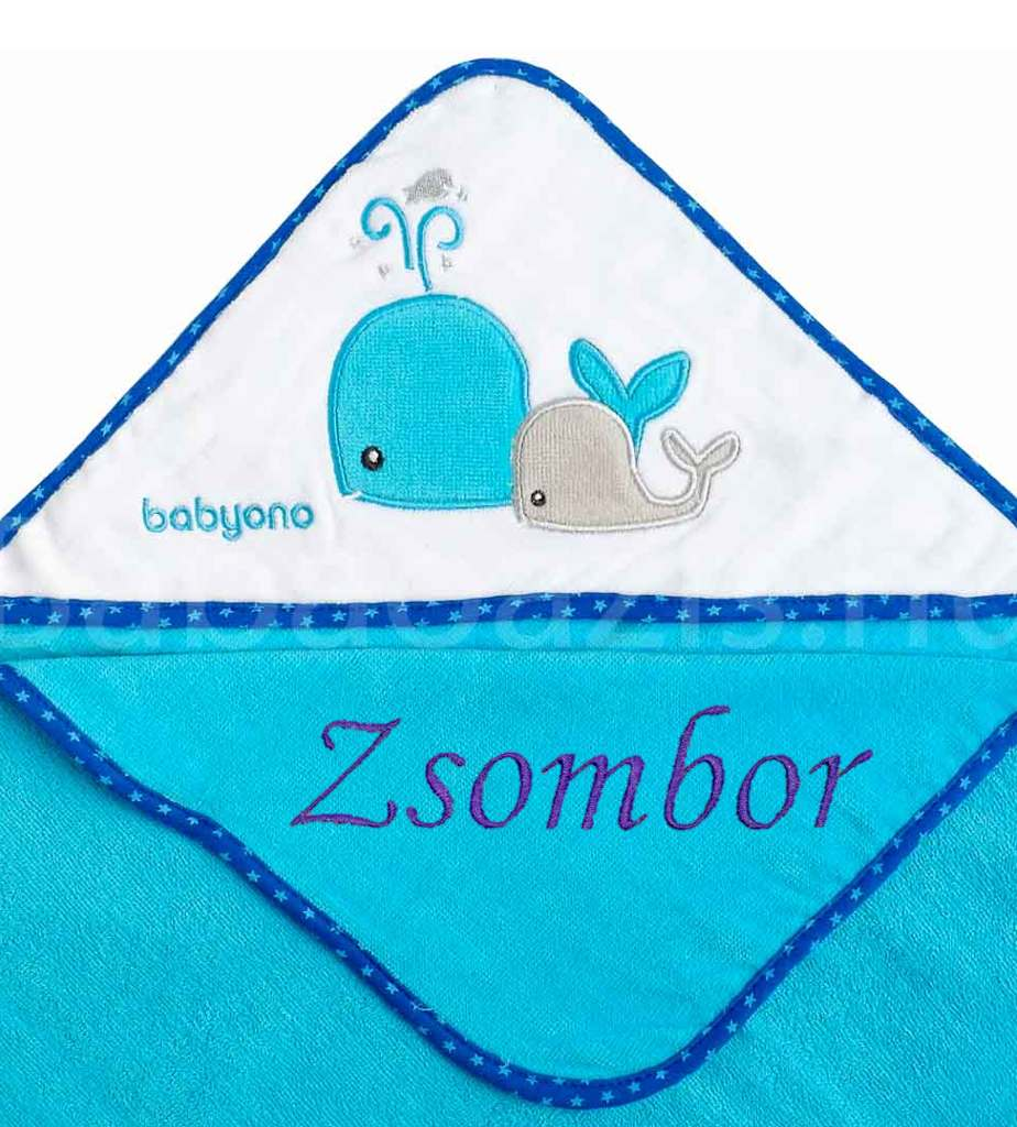 Névre szóló pamut kapucnis fürdőlepedő-Babyono-bálna-türkiz-75x75cm - Babaoázis  Webáruház-Egyedi baba ajándékok 0e9f82d578