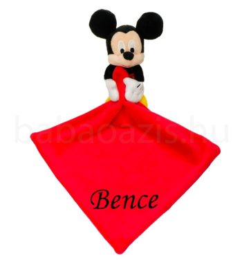 mickey szundikendo DSCF5227 22 350x380 - Névvel hímzett plüss szundikendő - Mickey-piros