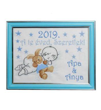 DSCF5582 350x380 - Egyedi hímzett kép - babás, kék keretben-A te éved