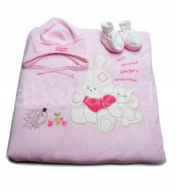baba takaro DSCF4727 4 350x380 - Bebessi takaró szett - nyuszis-rózsaszín