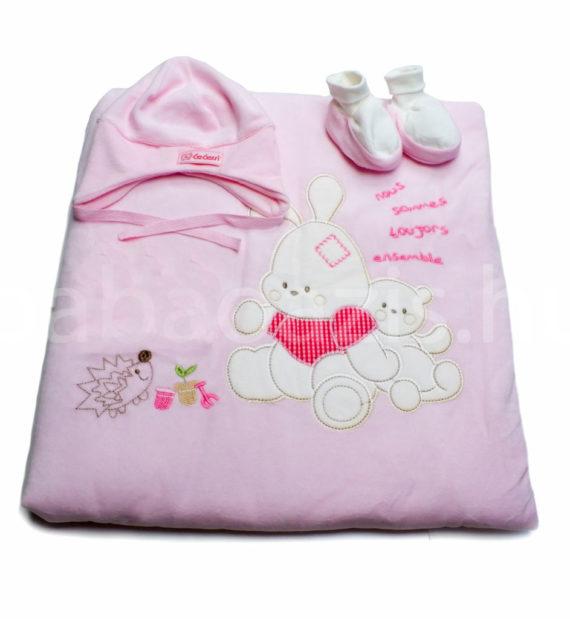 baba takaro DSCF4727 4 570x619 - Bebessi takaró szett - nyuszis-rózsaszín