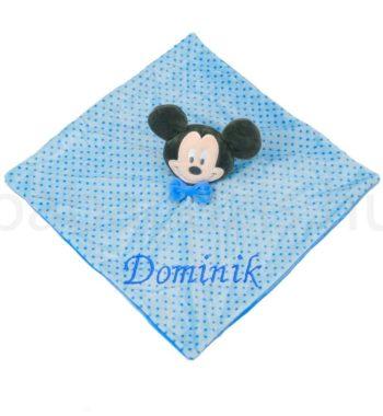mickey alvokendo DSCF6129 4 350x380 - Névvel hímzett plüss szundikendő - Mickey-kék