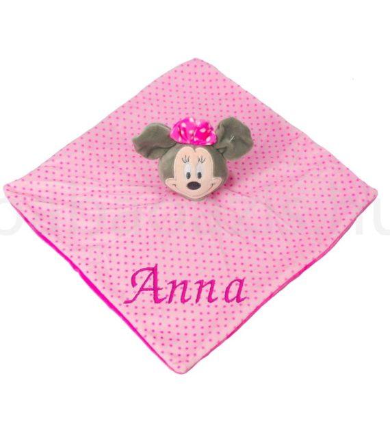 minnie alvokendo DSCF6143 4 570x619 - Névvel hímzett plüss szundikendő - Minnie-rózsaszín