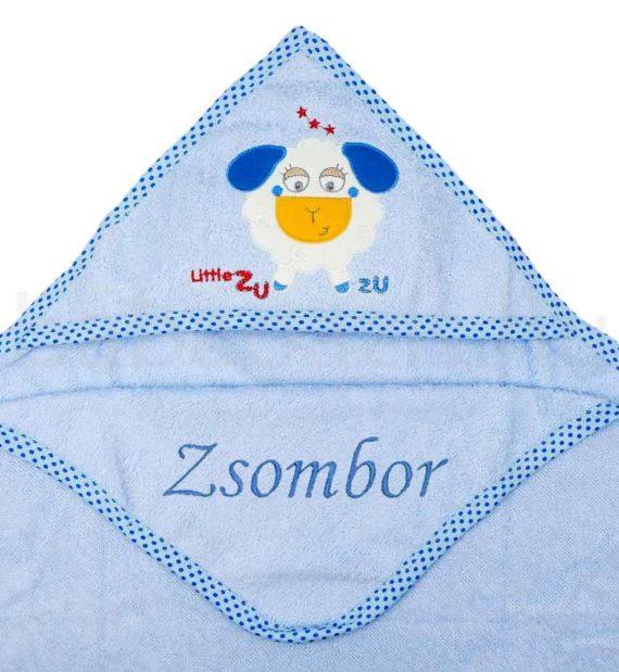 kapucnis torolkozo DSCF6381 1 570x619 - Névre szóló kapucnis törölköző – bárány-kék