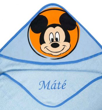 neves babatakaro DSCF7298 7 350x380 - Névre szóló kapucnis törölköző – Mickey egér-világoskék 2