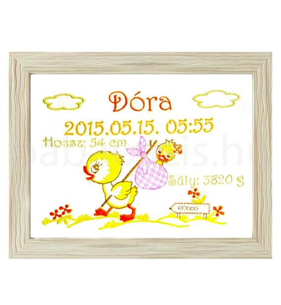 dora3 570x619 - Egyedi hímzett kép - kacsás, barna keretben 2