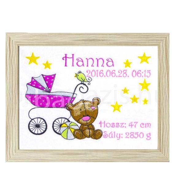 hanna 570x619 - Egyedi  hímzett kép - babakocsis, barna keretben 2