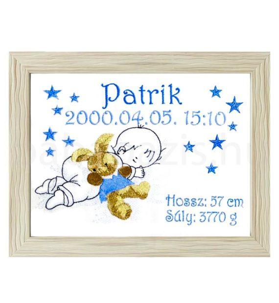 patrik3 570x619 - Egyedi hímzett kép - babás, barna keretben 2