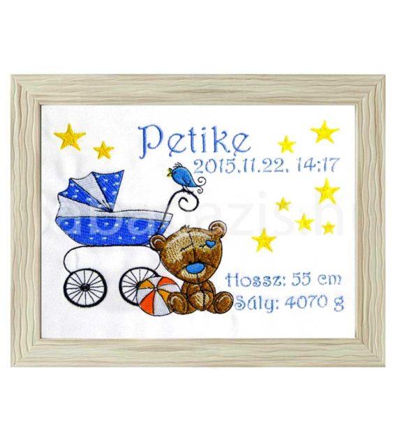 petike3 570x619 - Egyedi hímzett kép - babakocsis, barna keretben